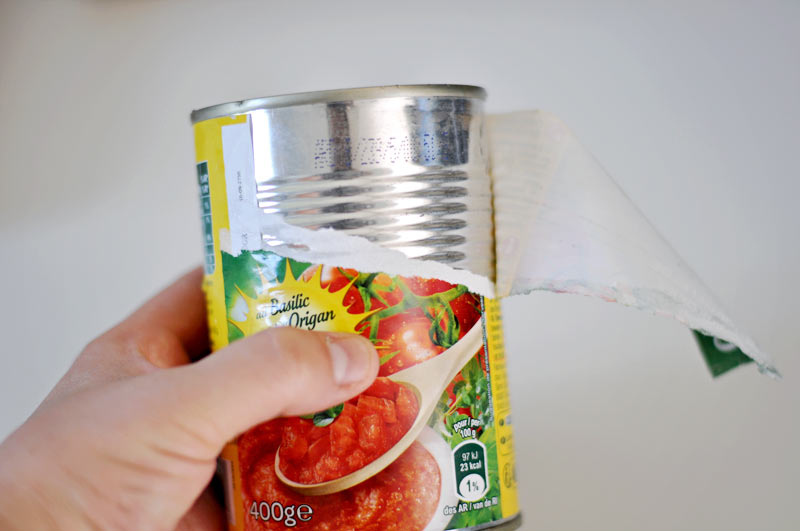 silverware caddy idea using tin cans