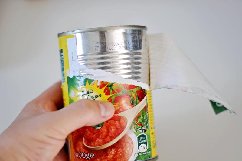 silverware caddy idea using tin cans