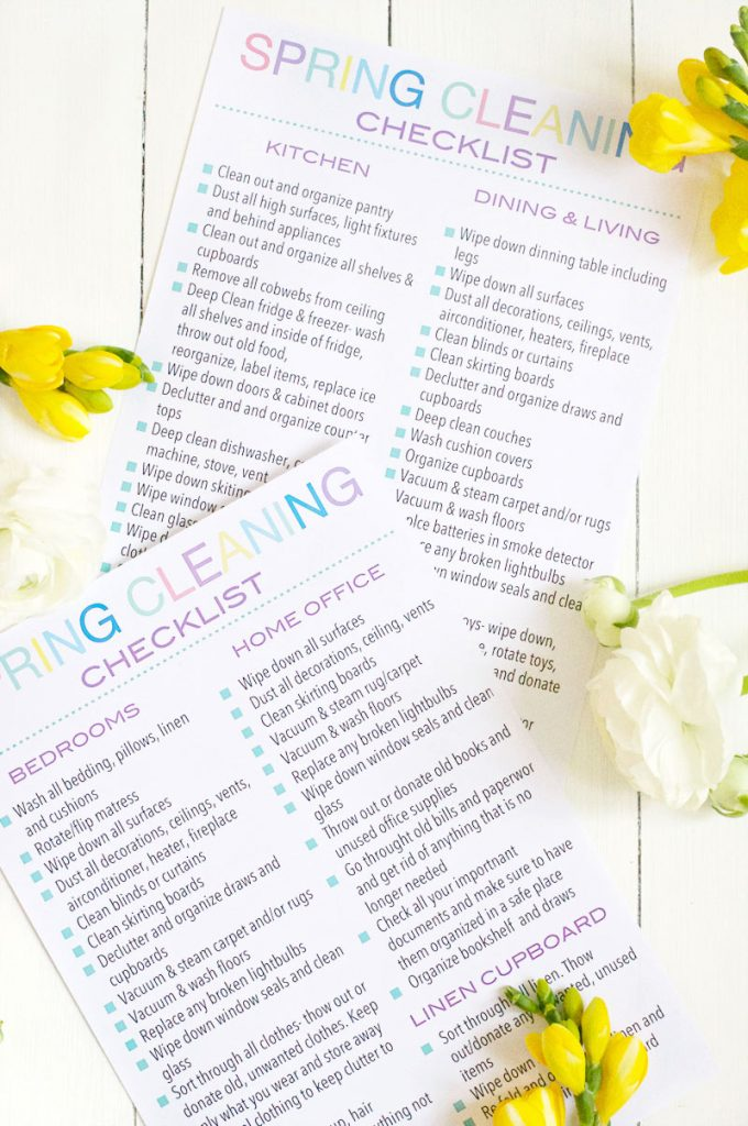 The Ultimate Spring Cleaning Checklist Printable to help you organize and declutter your home. Give your house the deep clean it needs with this free printable.