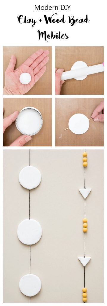 How to make mobiles using clay, wood and little paint.
