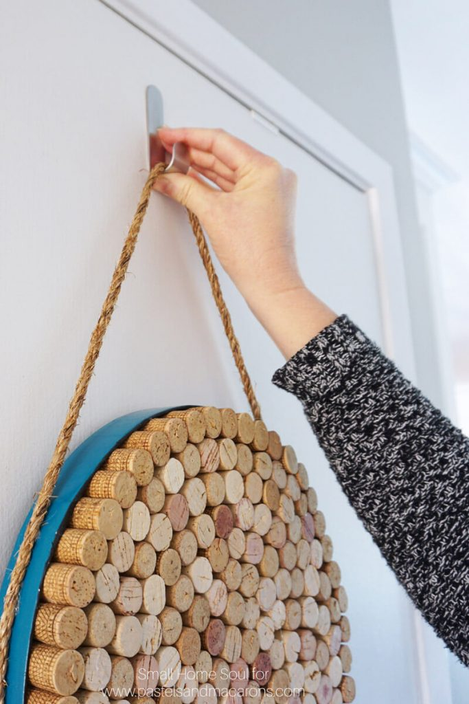 Hang your DIY cork board from a sturdy hook.