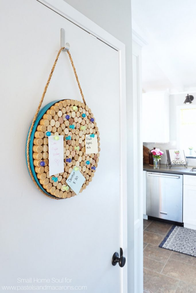 Keep important reminders handy on a DIY cork board.