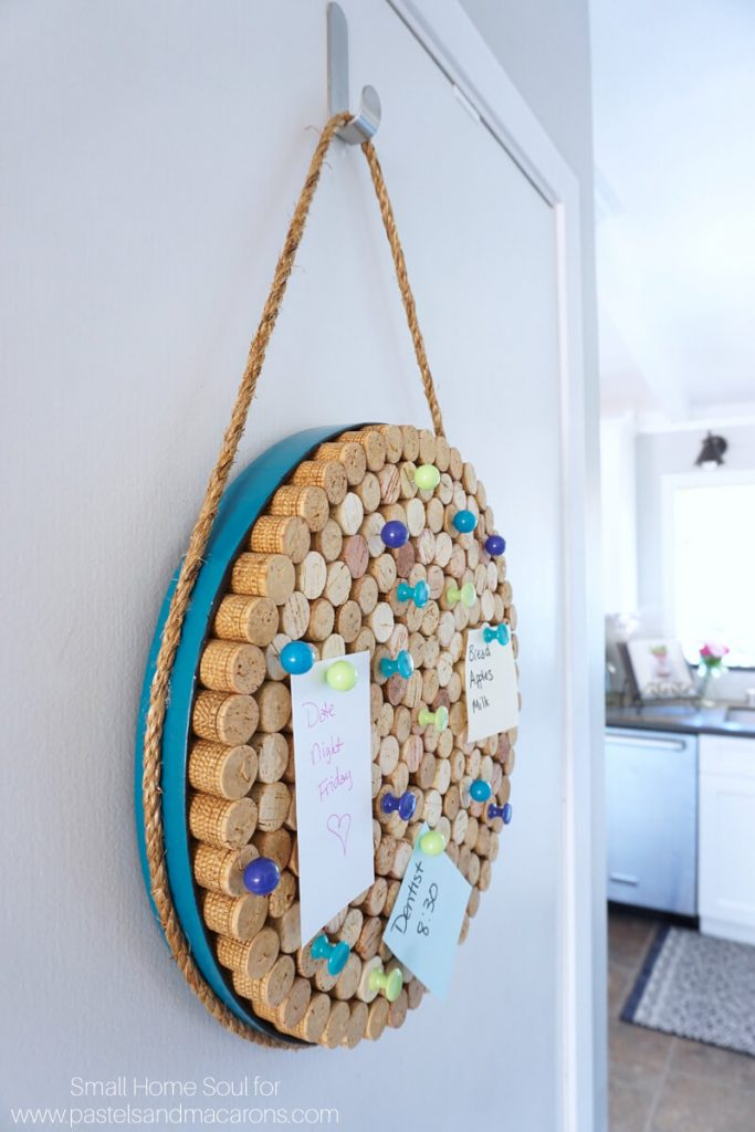 The blue frame makes this DIY cork board look a little coastal.