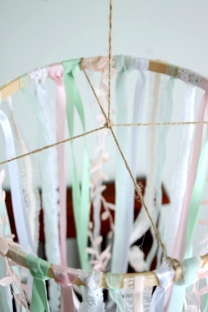 Beautiful DIY baby mobile tutorial made from ribbon and an embroidery hoop!