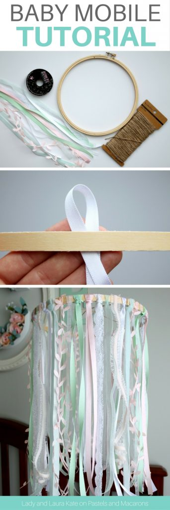 Make an embroidery hoop and lace DIY baby mobile tutorial without any craft skills. This Etsy inspired baby mobile will save you money by making it yourself. Follow the easy tutorial steps to create this gorgeous baby mobile that you can customize for a girl or boy.