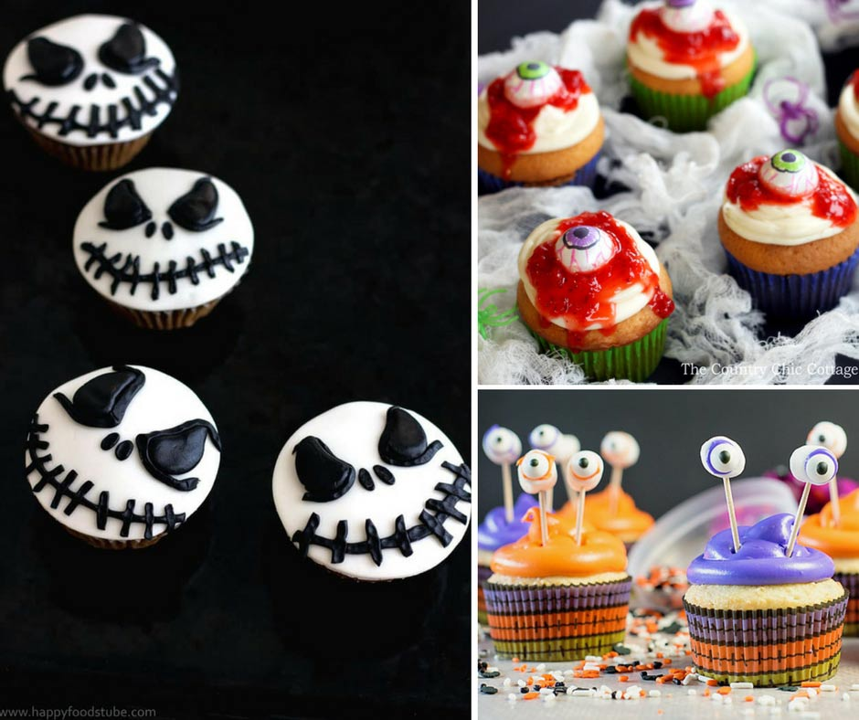 Wow! These are The BEST and cutest easy to make Halloween Cupcakes for kids! Such great ideas. I love the eyeballs, spiders and skeletons. My kids will love making these with me.