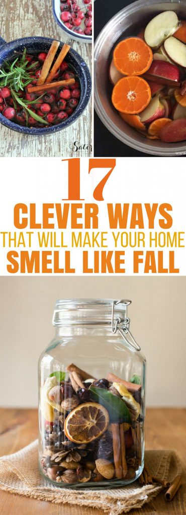 Try these GENIUS ways to make your home smell like Fall! DIY an air freshener, use essential oils, make simmer pots in a crockpot, try making pumpkin spice candles or potpourri. So many fabulous ideas! #fallsmells #diyfallsmells #fallessentialoils