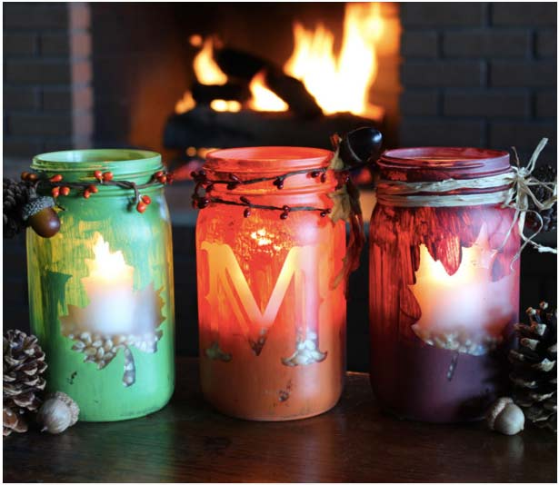 Simply gorgeous. I love all of these Mason Jar crafts for Fall. So many great DIY decoration Ideas.