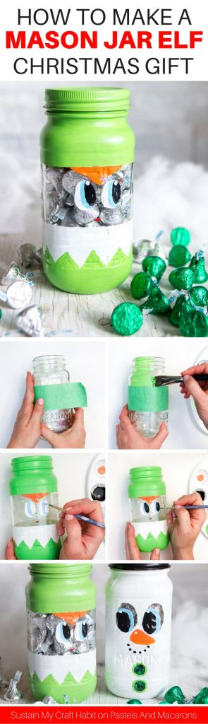 The BEST DIY painted mason jar craft I have seen! This Mason Jar Christmas Gift is perfect to put treats into for the Holidays. Such a cute Christmas mason jar craft ideas | Secret Santa gift idea, Christmas Gift Idea, Teacher gift idea, stocking stuffer idea or even as part of your Christmas decor #masonjarcrafts #masonjarcraft #secretsanta #christmascraft #christmasgift #diygift #diychristmasgift #paintedmasonjar #christmasdiy #masonjar #stockingstuffer #diygift #cheapgift #christmas